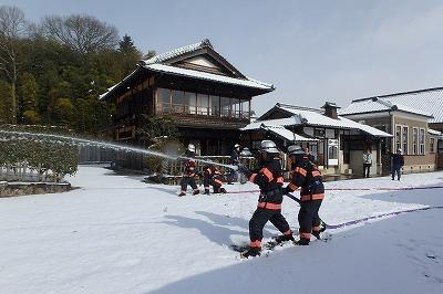 コヤノ美術館での消防訓練状況