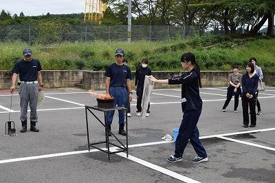 天ぷら油火災消火訓練