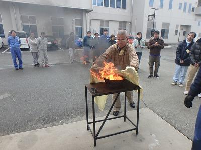 天ぷら油火災消火実験
