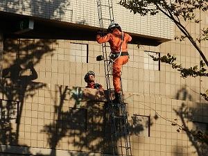 三連梯子を用いた救出活動