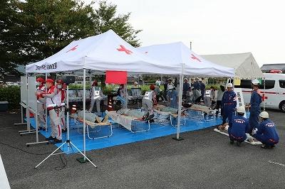 多可赤十字病院による応急救護所での救護活動