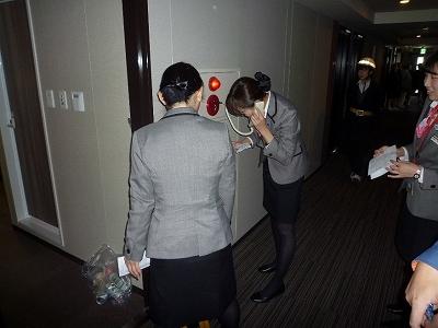 ホテル従業員による消防訓練