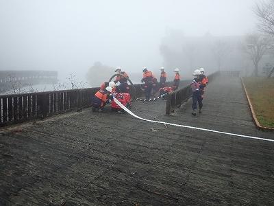 消防団 自然水利から吸水